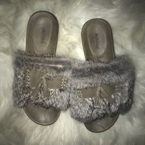 RUDSAK WOMENS SANDALS WITH RABBIT FUR SIZE 36